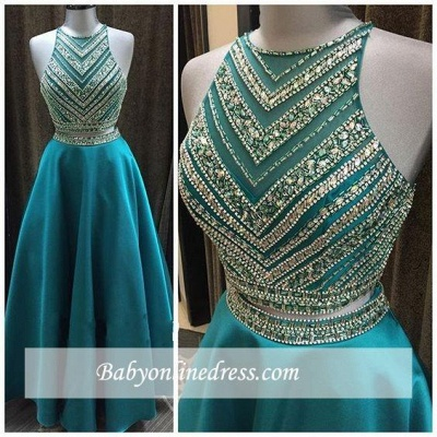 Luxury Two-Pieces Halter Evening Gowns 2018 Sleeveless A-Line Crystal Prom Dress_3