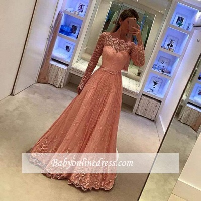 Newest Lace Long Sleeves Party Gowns 2018 Appliques A-Line Prom Dress_1