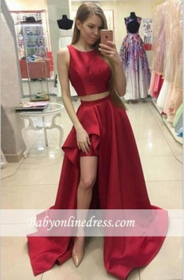 Jewel Red Two-Piece Hi-Lo A-line Newest Prom Dress_3