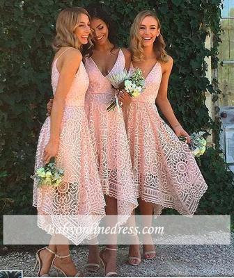 Sleeveless Tea-Length Spaghetti-Strap A-line Lace Bridesmaid Dress_1