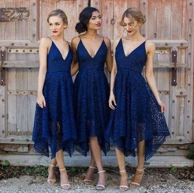 Sleeveless Tea-Length Spaghetti-Strap A-line Lace Bridesmaid Dress_3
