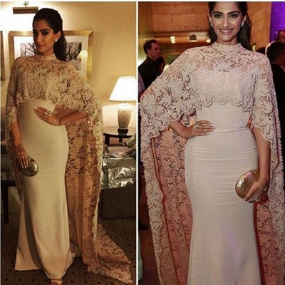 Arabic Mermaid Long Evening Gowns with High Neck Sheer Lace Cape Party Dresses_6
