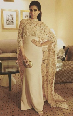 Arabic Mermaid Long Evening Gowns with High Neck Sheer Lace Cape Party Dresses_1