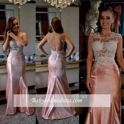 Glamorous Appliques Mermaid Long Sleeveless Evening Dress with Beadings_1