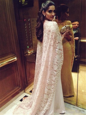 Arabic Mermaid Long Evening Gowns with High Neck Sheer Lace Cape Party Dresses_4