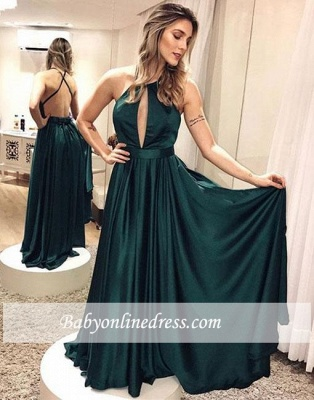 Elegant Simple Dark-green Backless Cross-criss Formal Dress_2