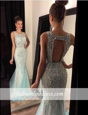 Luxury Crystal Mermaid Tulle Prom Dresses 2018 Scoop Sleeveless Evening Gowns BA4613_3
