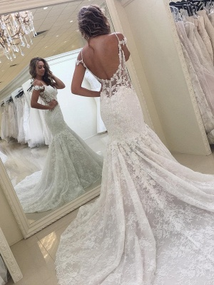 Off-the-shoulder Lace Fit and Flare Modern Wedding Dresses_3