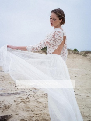 Modern Lace V-neck 3/4 sleeves Simple A-line Wedding Dresses_1