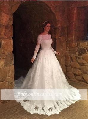 Off-The-Shoulder Elegant Long-Sleeves Lace-Applique A-Line Wedding Dresses_1