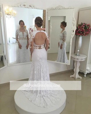 Elegant White Appliques Open Back Mermaid Wedding Dresses Sleeves Lace_1