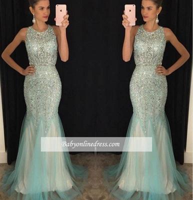 Luxury Crystal Mermaid Tulle Prom Dresses 2018 Scoop Sleeveless Evening Gowns BA4613_1