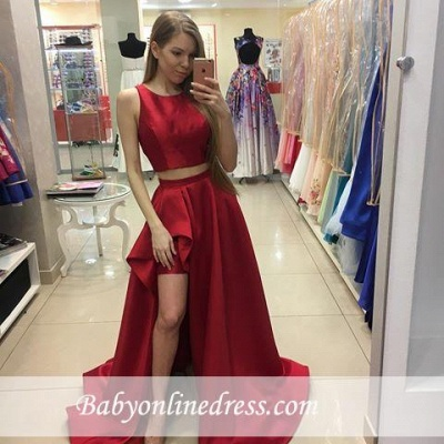Jewel Red Two-Piece Hi-Lo A-line Newest Prom Dress_1