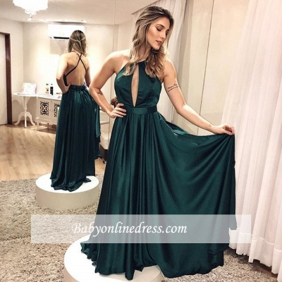Elegant Simple Dark-green Backless Cross-criss Formal Dress_3
