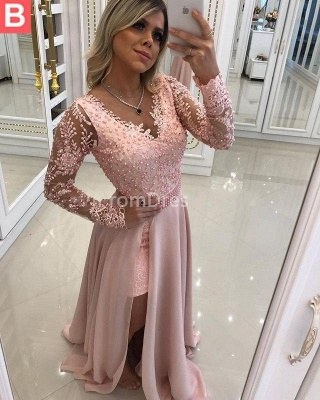 Chic Hi-Lo Prom Dresses | Long Sleeves Beading Evening Gowns_3