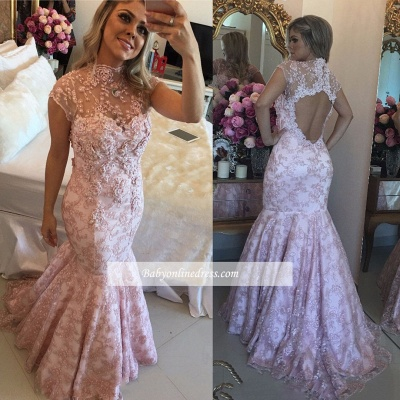 Open-Back Pink Lace Cap-Sleeves High-Neck Beaded Prom Dresses_1