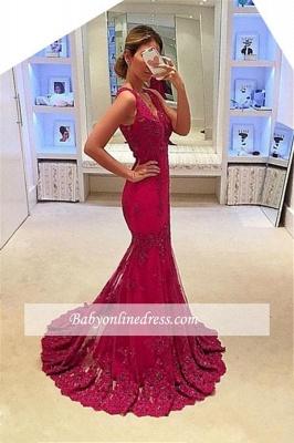 2018 Glamorous Mermaid Sleeveless V-Neck Appliques Prom Dresses_3