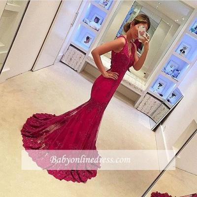 2018 Glamorous Mermaid Sleeveless V-Neck Appliques Prom Dresses_1