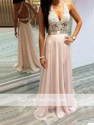 Sleeveless Halter Long Chiffon Lace Open-Back V-Neck Prom Dresses_1