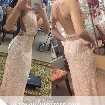 Long Sleeveless Sequined Prom Dress Spaghetti-Strap Bodycon Evening Gowns_1