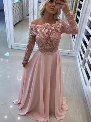 Sexy Off-The-Shoulder Prom Dresses | Chiffon Sparkling Pink Evening Gown_1