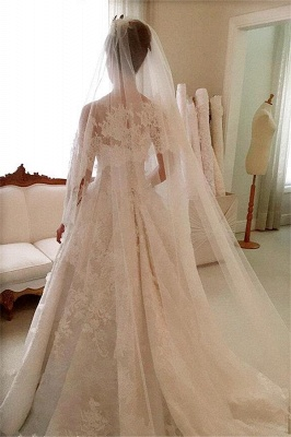 Elegant Lace A-Line 2020 Wedding Dresses Appliques Sleeveless Bridal Gowns with Buttons_4