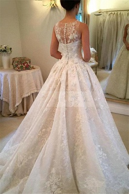 Elegant Lace A-Line 2020 Wedding Dresses Appliques Sleeveless Bridal Gowns with Buttons_3