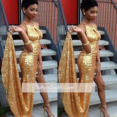 Sexy Halter Sequined Prom Dresses Gold Side-Slit Evening Gown_1