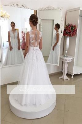 Appliques Elegant Bowknot Lace V-Neck Beadings Wedding Dresses_1