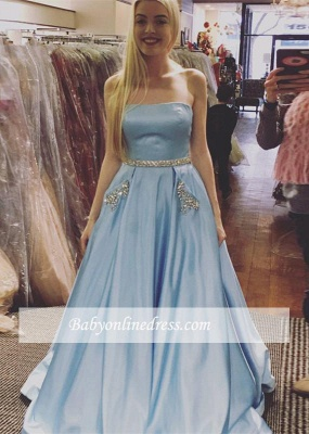 Newest Sleeveless A-line Strapless Crystals Sky-Blue Prom Dress_3