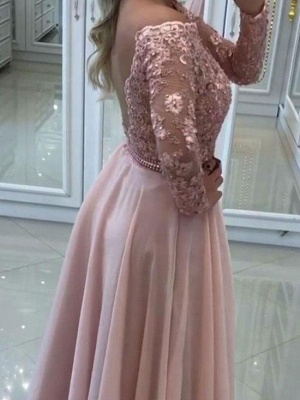 Sexy Off-The-Shoulder Prom Dresses | Chiffon Sparkling Pink Evening Gown_3