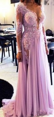 Lilac long Prom Dresses Long Sleeves Lace Beaded Chiffon Sexy Evening Gowns_1