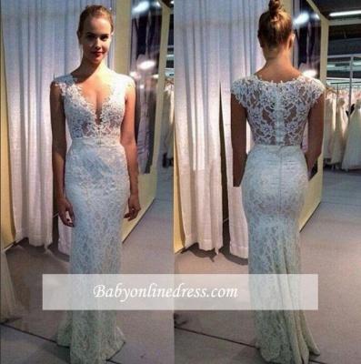 Modest Long Lace V-neck Wedding Dress Sleeveless Zipper Bridal Gowns_1