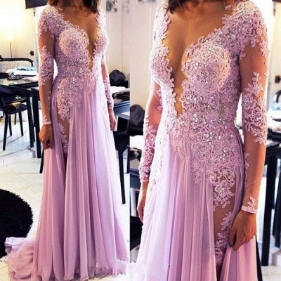 Lilac long Prom Dresses Long Sleeves Lace Beaded Chiffon Sexy Evening Gowns_2