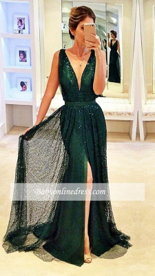 2018 Sexy Dark Green Sleeveless V-Neck Evening Gowns Sequined Front Split Prom Dress_3