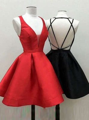 Simple Red A-Line Homecoming Dresses | Spaghetti Straps Short Cocktail Dresses_4