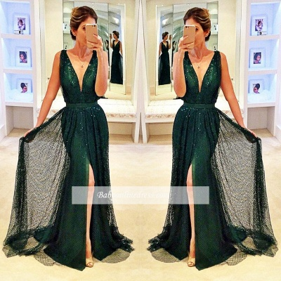 2018 Sexy Dark Green Sleeveless V-Neck Evening Gowns Sequined Front Split Prom Dress_1