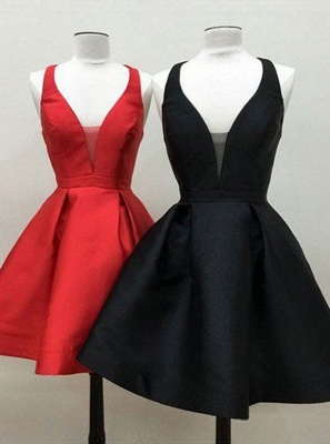 Simple Red A-Line Homecoming Dresses | Spaghetti Straps Short Cocktail Dresses_3