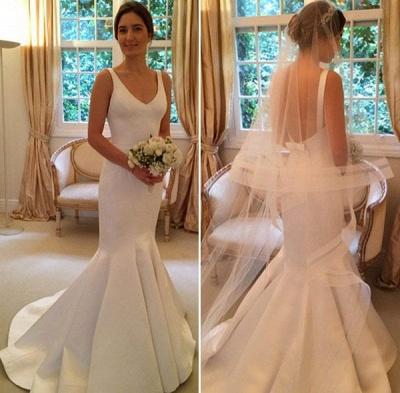 V-Neck Sleeveless Open Back Mermaid Elegant Wedding Dresses_3