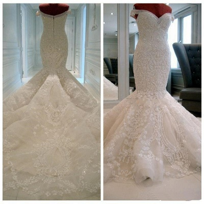 New Arrival Luxury Off Shoulder Pearls Appliques Lace Mermaid Wedding Dress_2