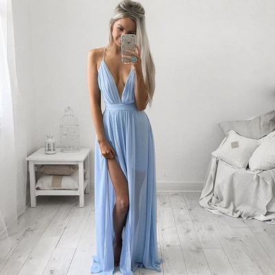 Sexy Deep V-neck Baby Blue Prom Dresses Chiffon Spaghetti Straps Maxi Dress_3