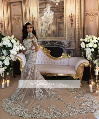 Luxury Silver Mermaid Wedding Dresses | Long Sleeves Lace High Neck Bridal Gowns_1