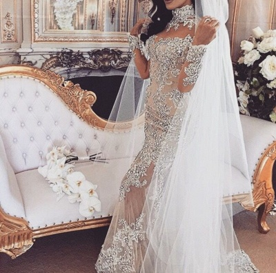 Luxury Silver Mermaid Wedding Dresses | Long Sleeves Lace High Neck Bridal Gowns_5