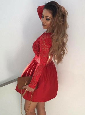 Red Long Sleeves Lace Homecoming Dresses | V-Neck A-Line Cocktail Dresses_3
