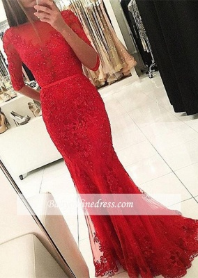 Red Mermaid Tulle Appliques Party Gowns 2018 Half-Sleeves Beadings Prom Dress_3