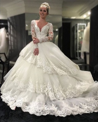 Delicate Three Layers Long Sleeves Ball-Gown Lace Appliques Wedding Dress_4