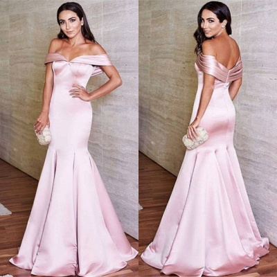 Glossy Pink Mermaid Prom Dresses Off-the-Shoulder Evening Gowns_4