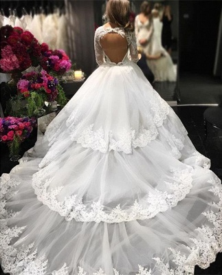 Delicate Three Layers Long Sleeves Ball-Gown Lace Appliques Wedding Dress_3