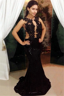 Black Lace Sequins Prom Dresses Mermaid Long Formal Dress_1
