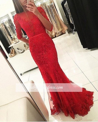 Red Mermaid Tulle Appliques Party Gowns 2018 Half-Sleeves Beadings Prom Dress_1